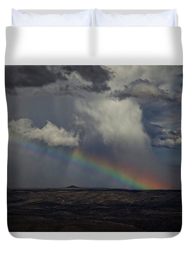 Rainbow Duvet Cover featuring the photograph Rainbow Storm Over The Verde Valley Arizona by Ron Chilston