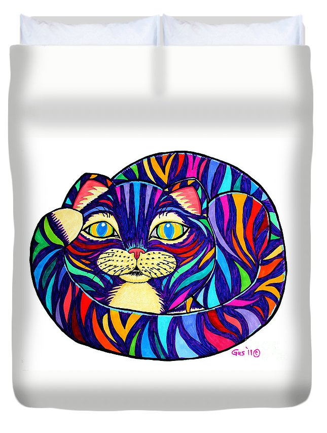 Cat Duvet Cover featuring the drawing Rainbow Striped Cat by Nick Gustafson