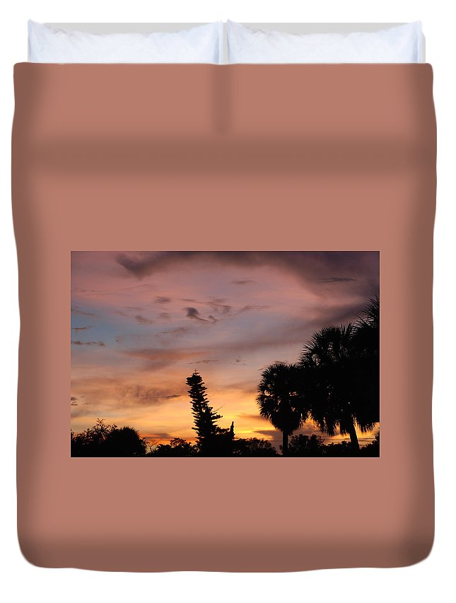 Sunset Duvet Cover featuring the photograph Rainbow Sunset by Rob Hans
