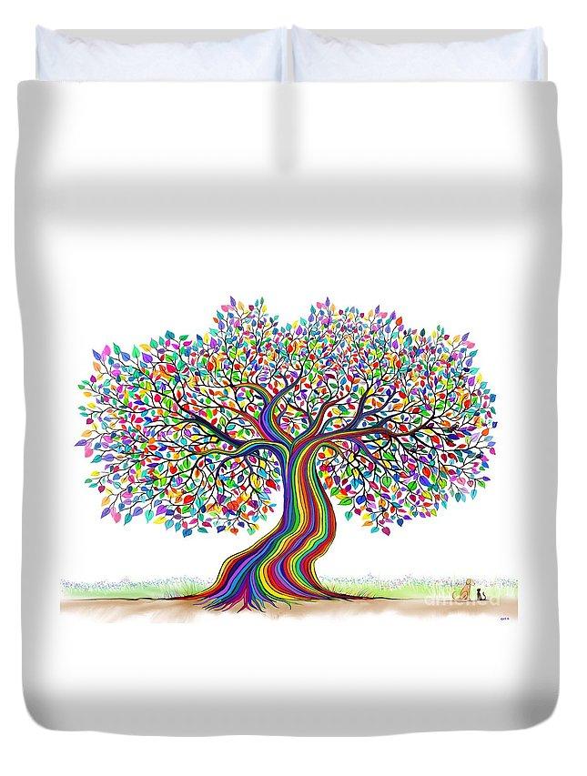 Rainbow Tree Duvet Cover featuring the digital art Rainbow Tree Friends by Nick Gustafson