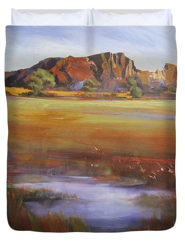 Landscape Duvet Cover featuring the painting Rainbow Valley Australia by Chris Hobel