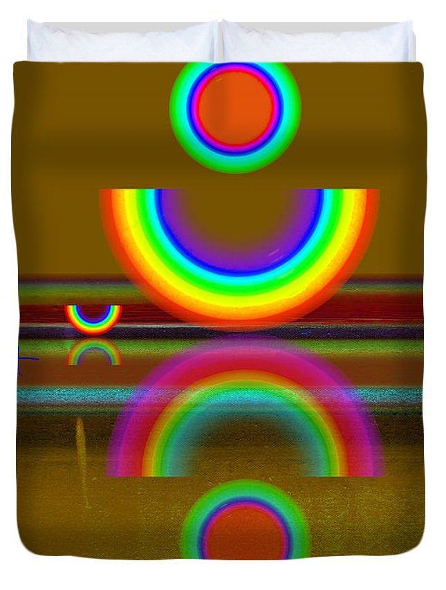 Reflections Duvet Cover featuring the painting Rainbow Warrior by Charles Stuart