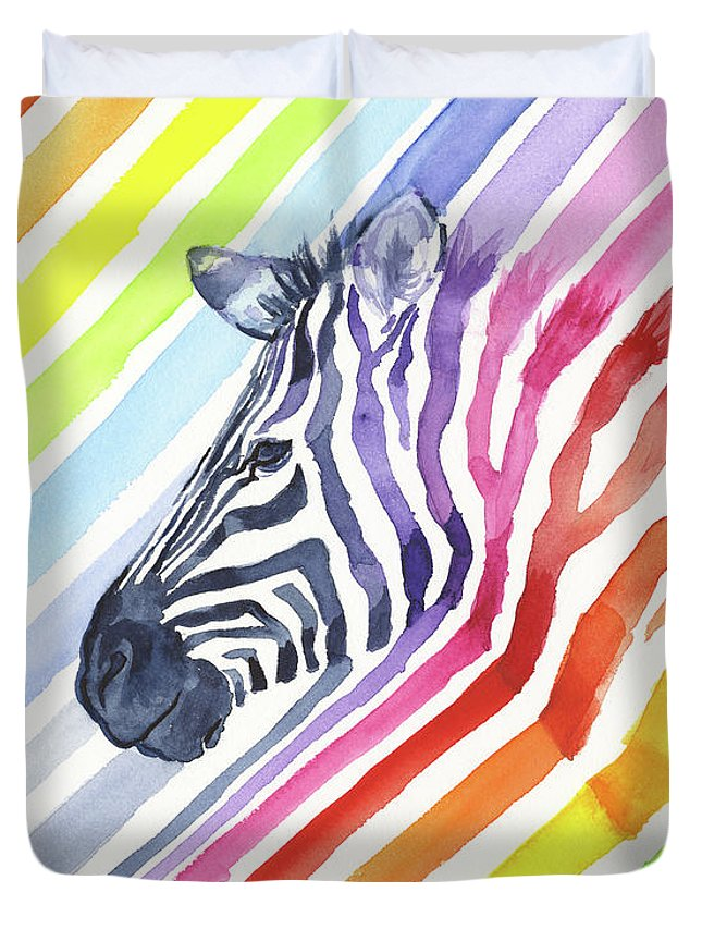 Rainbow Duvet Cover featuring the painting Rainbow Zebra Pattern by Olga Shvartsur