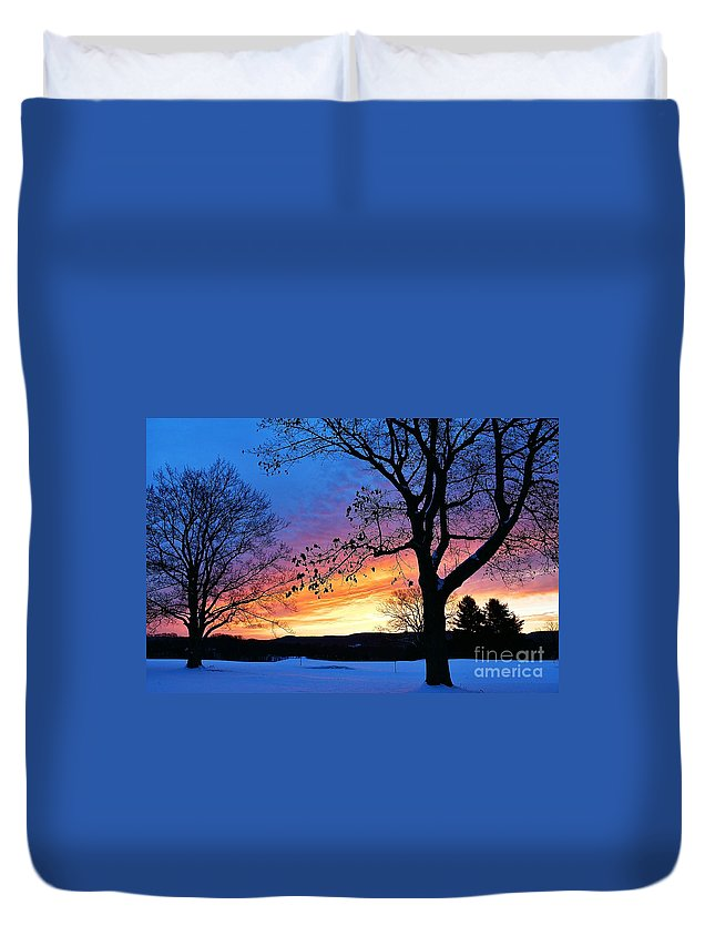 Sunrise Duvet Cover featuring the photograph Rainbowed Sunrise by Julie Street