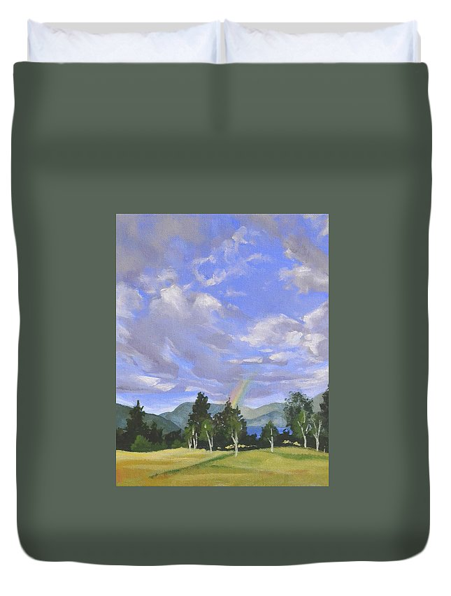 Clouds Duvet Cover featuring the painting Rainbow's End by Mary Chant