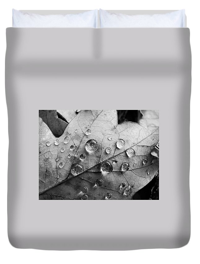 Drops Duvet Cover featuring the photograph Raindrops by Daniel Csoka