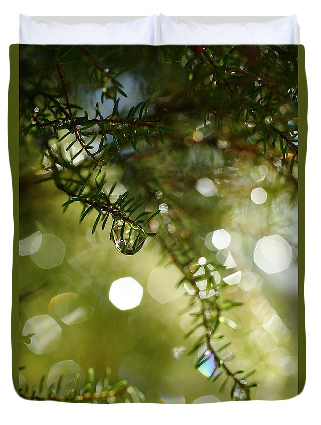 Dew Duvet Cover featuring the photograph Raindrops by Gaspar Avila