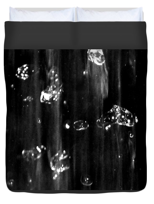 Rain Duvet Cover featuring the photograph Raindrops In Slow Motion by Abstract Angel Artist Stephen K