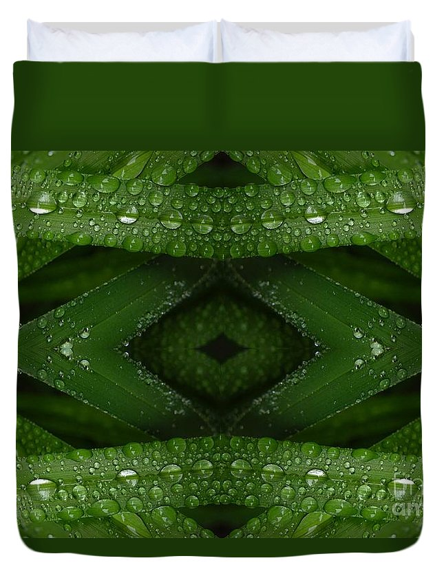 Nature Duvet Cover featuring the digital art Raindrops On Green Leaves Collage by Carol Groenen
