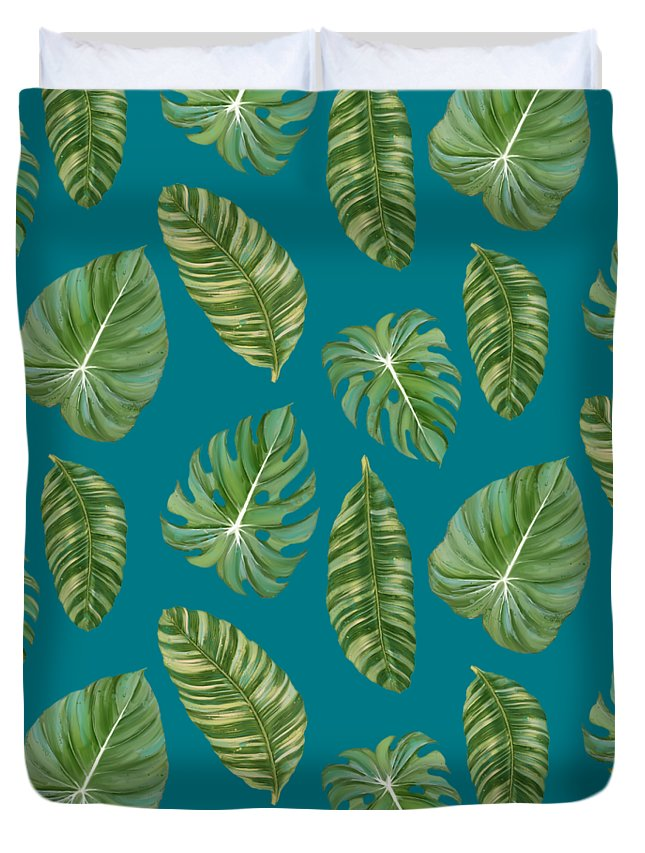Tropical Duvet Cover featuring the painting Rainforest Resort - Tropical Leaves Elephant's Ear Philodendron Banana Leaf by Audrey Jeanne Roberts