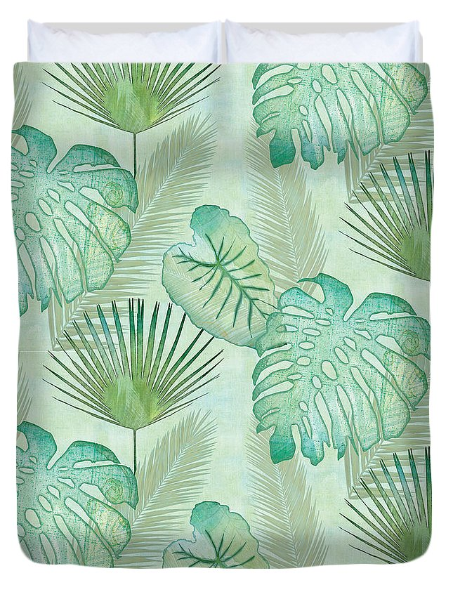 Rain Duvet Cover featuring the painting Rainforest Tropical - Elephant Ear and Fan Palm Leaves Repeat Pattern by Audrey Jeanne Roberts