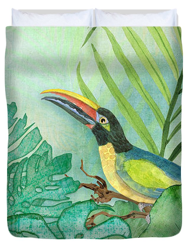 Toucan Duvet Cover featuring the painting Rainforest Tropical - Tropical Toucan W Philodendron Elephant Ear And Palm Leaves by Audrey Jeanne Roberts