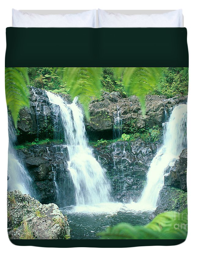 Big Duvet Cover featuring the photograph Rainforest Waterfalls by Peter French - Printscapes