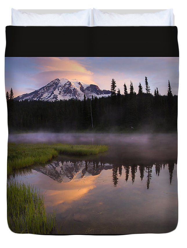 Rainier Duvet Cover featuring the photograph Rainier Lenticular Sunrise by Mike Dawson