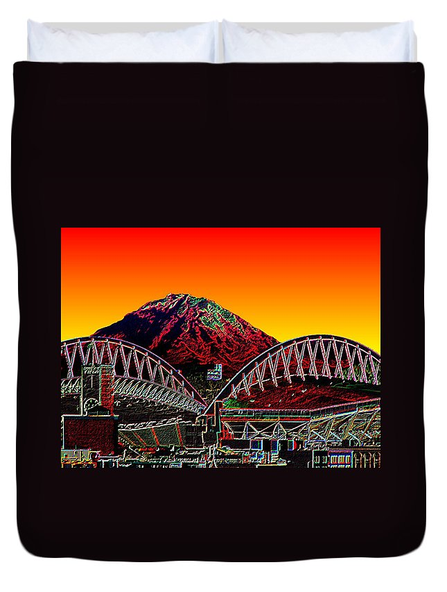 Mount Rainier Duvet Cover featuring the photograph Rainier Over Qwest Field by Tim Allen