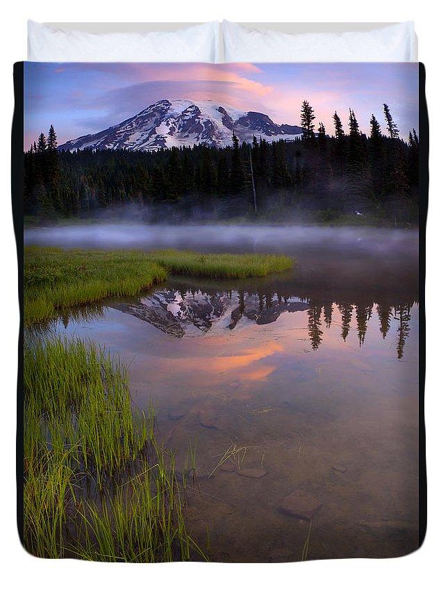 Rainier Duvet Cover featuring the photograph Rainier Sunrise Cap by Mike Dawson