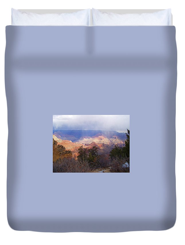 Grand Canyon Duvet Cover featuring the photograph Raining In The Canyon by Marna Edwards Flavell