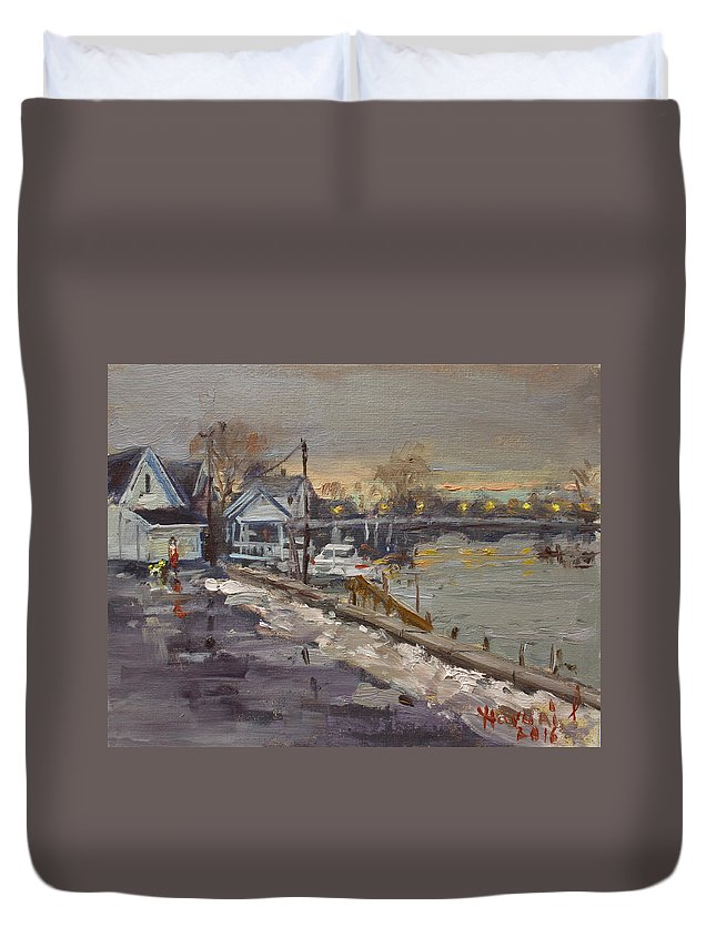 Rainy Duvet Cover featuring the painting Rainy And Snowy Evening By Niagara River by Ylli Haruni