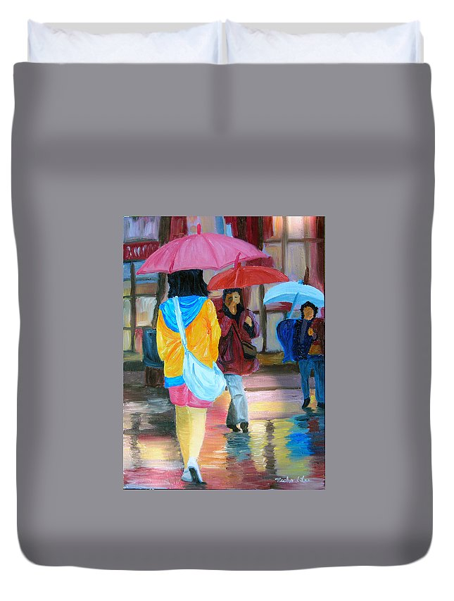Rainy City Duvet Cover featuring the painting Rainy City by Michael Lee