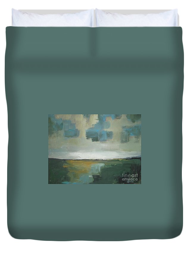 Abstract Duvet Cover featuring the painting Rainy Clouds by Vesna Antic