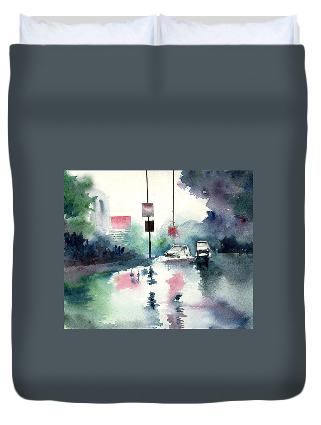 Nature Duvet Cover featuring the painting Rainy Day by Anil Nene