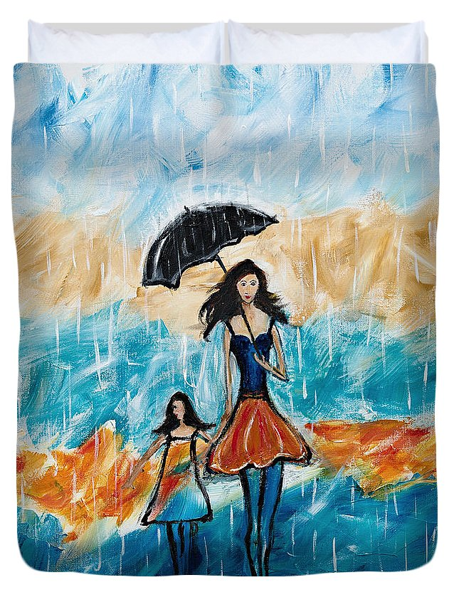 Rain Duvet Cover featuring the painting Rainy Day Blues by Art by Danielle