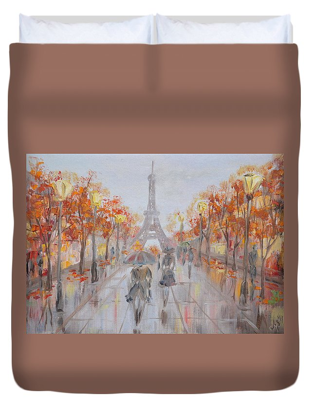 Destination Paris Duvet Cover featuring the painting Rainy Day In Paris by M B