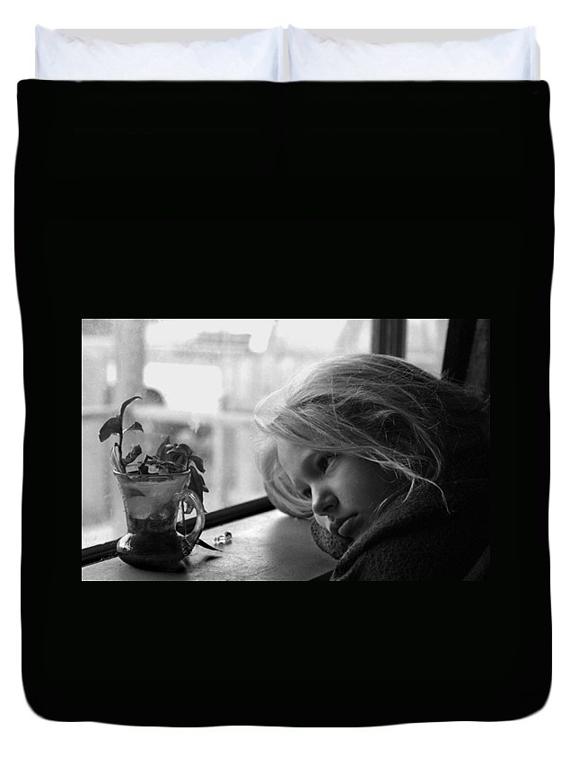 Sad Face Duvet Cover featuring the photograph Rainy Day by Peter Piatt