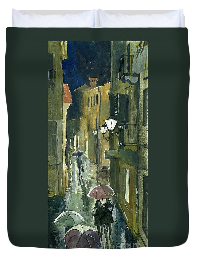 Montenegro Duvet Cover featuring the painting Rainy Evening In Kotor by Sakurov Igor