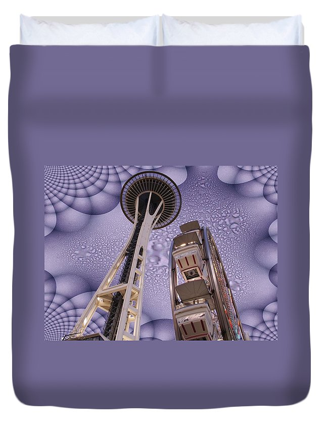 Seattle Duvet Cover featuring the digital art Rainy Needle by Tim Allen
