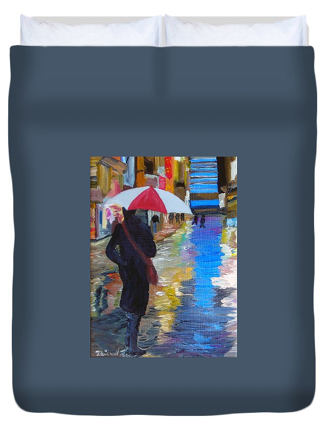 Umbrella Duvet Cover featuring the painting Rainy New York by Michael Lee