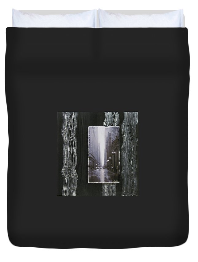 City Duvet Cover featuring the mixed media Rainy Street Layered by Anita Burgermeister