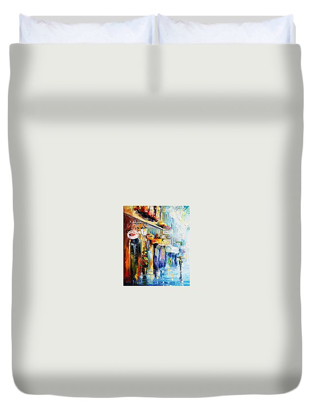 Afremov Duvet Cover featuring the painting Rainy Stroll by Leonid Afremov