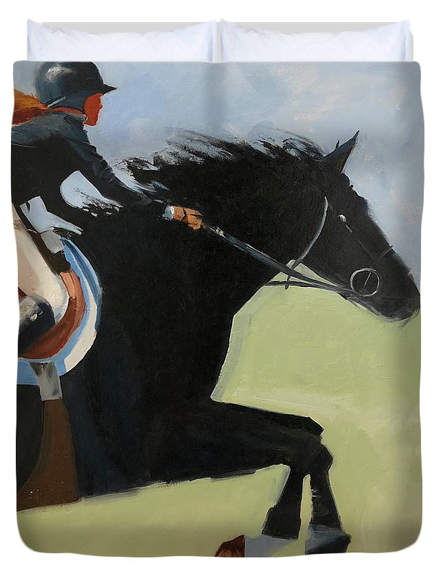 Horse Duvet Cover featuring the painting Raising Champions by Barbara Andolsek