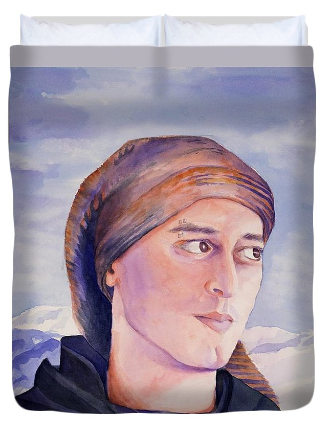 Man In Ski Cap Duvet Cover featuring the painting Ram by Judy Swerlick