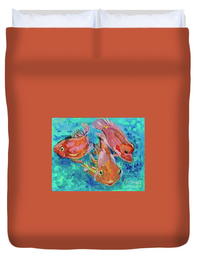 Miniature Duvet Cover featuring the painting Ramshead Goldfish by Jan Bennicoff