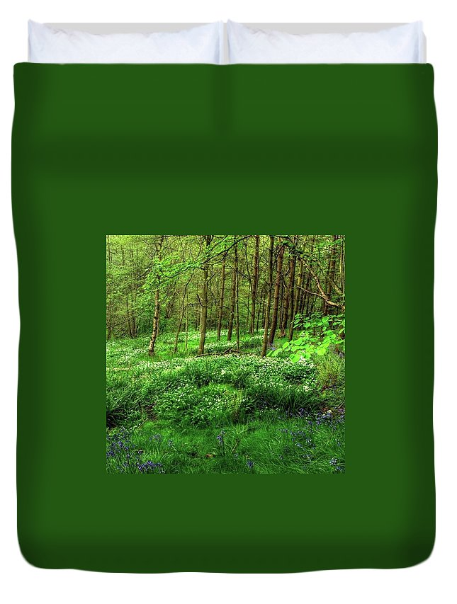 Nature Duvet Cover featuring the photograph Ramsons And Bluebells, Bentley Woods by John Edwards