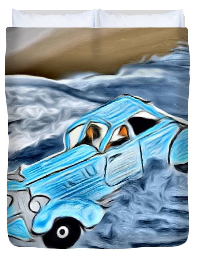 Car Duvet Cover featuring the digital art Ran Outta Gas by Marcia Kaye Rogers