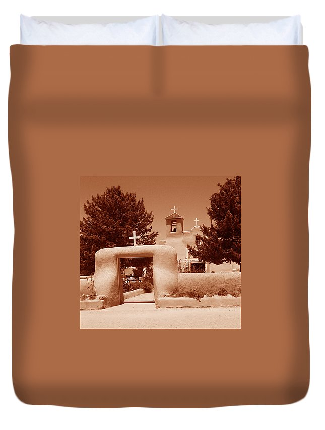 Church Duvet Cover featuring the photograph Ranchos De Taos Church  New Mexico by Wayne Potrafka