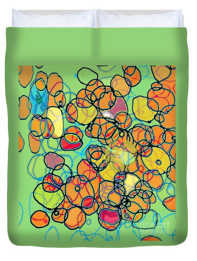 Cell Duvet Cover featuring the digital art Random Cells 5 by Andy Mercer