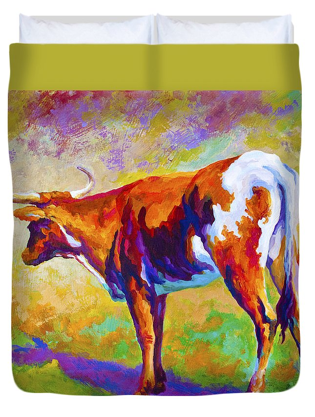 Longhorn Duvet Cover featuring the painting Range Rover II - Texas Longhorn by Marion Rose