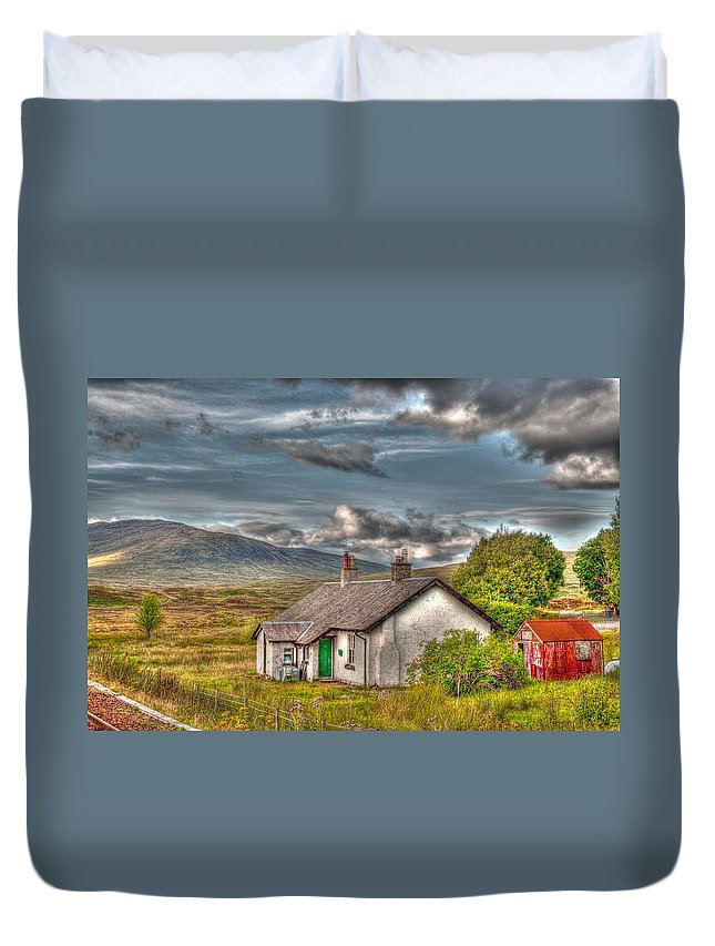 Rannoch Duvet Cover featuring the photograph Rannoch Railway Station View by Chris Thaxter