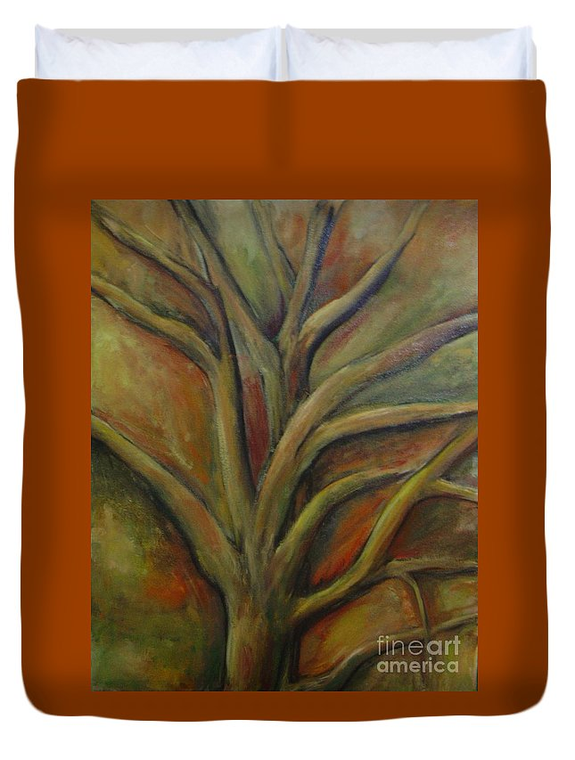Tree Abstract Painting Expressionist Original Leila Atkinson Duvet Cover featuring the painting Rapt by Leila Atkinson