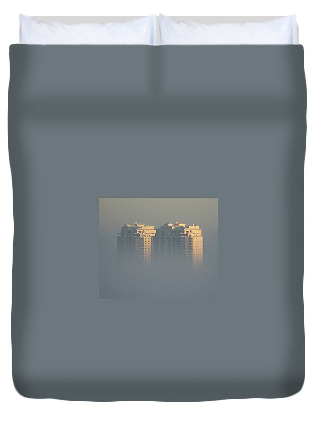 Raptor Bay Duvet Cover featuring the photograph Raptor Bay Morning Mist by Laurie Paci