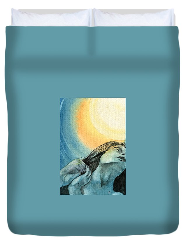 Watercolor Duvet Cover featuring the painting Rapture by Brenda Owen