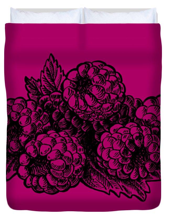 Raspberries Duvet Cover featuring the painting Raspberries Image by Irina Sztukowski