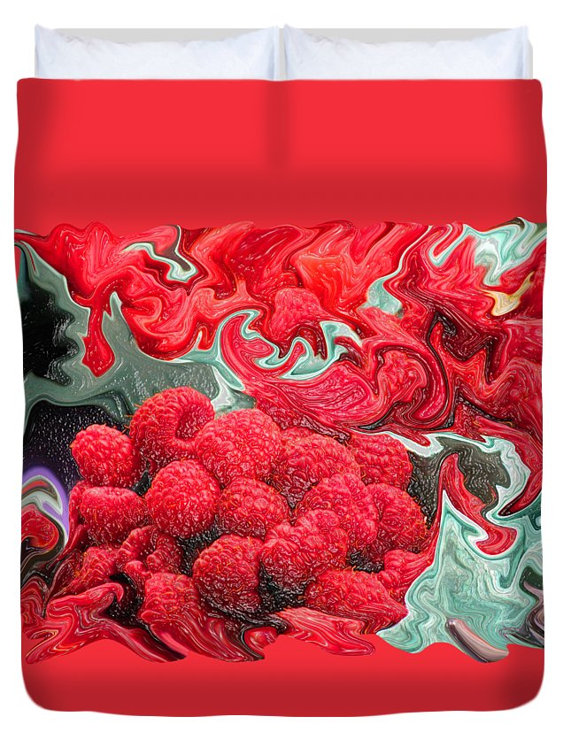 Art Photography Duvet Cover featuring the photograph Raspberries by Kathy Moll