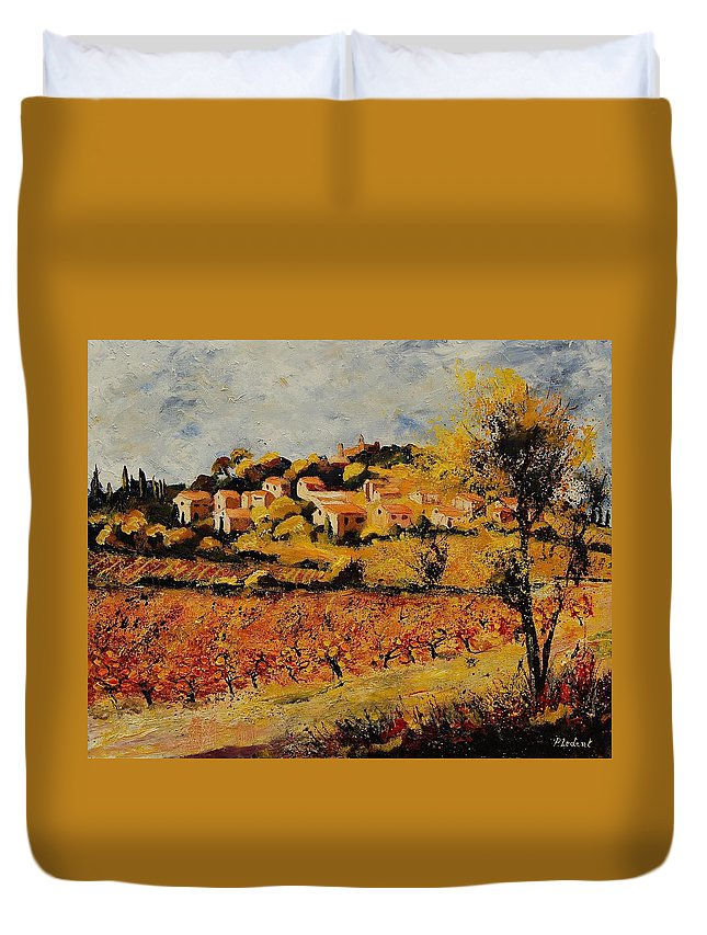 Provence Duvet Cover featuring the painting Rasteau Vaucluse by Pol Ledent