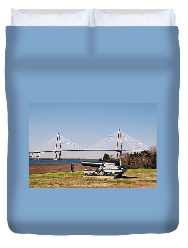 Photography Duvet Cover featuring the photograph Ravanel Bridge From The Patriot Point by Susanne Van Hulst