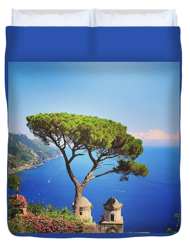 Ravello Duvet Cover featuring the painting Ravello-italy by Rojena Tatour